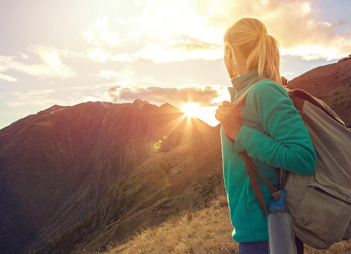 A female hiker on a mountain