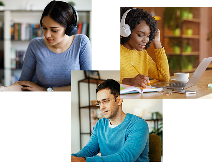 A collage of students studying from home and students wearing masks in class