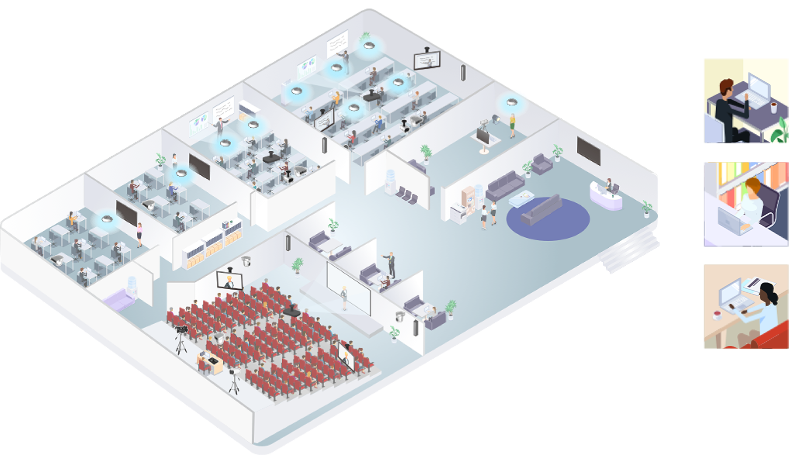 Infographic diagram of Sony's PTZ camera, Beamforming microphone, Edge Analytics appliance and BRAVIA displays being utilised in a school setting for wide range of classrooms and easy access for remote locations