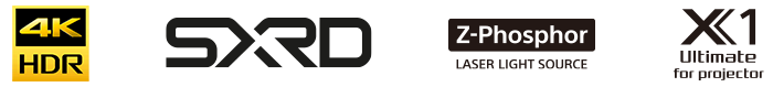 Logo of 4K HDR, SXRD, Z-Phosphor laser light source and X1 Ultimate for projector