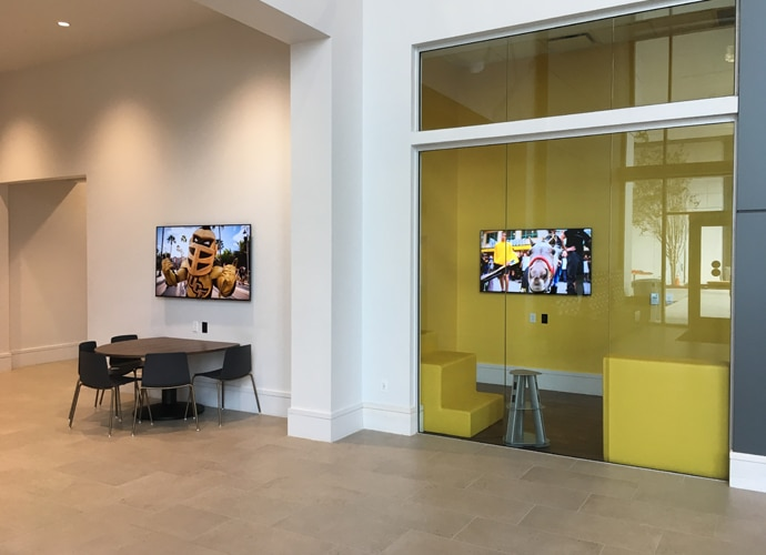 Image showing the interior of the university, displaying how two BRAVIA displays are being used as more than just simple black rectangles.