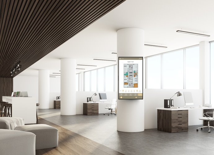 Image showing a BRAVIA Professional Display using TEOS to depict available meeting rooms and spaces within the office.