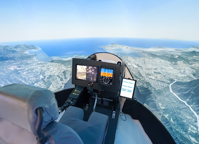 Pilot's chair in flight simulation mode