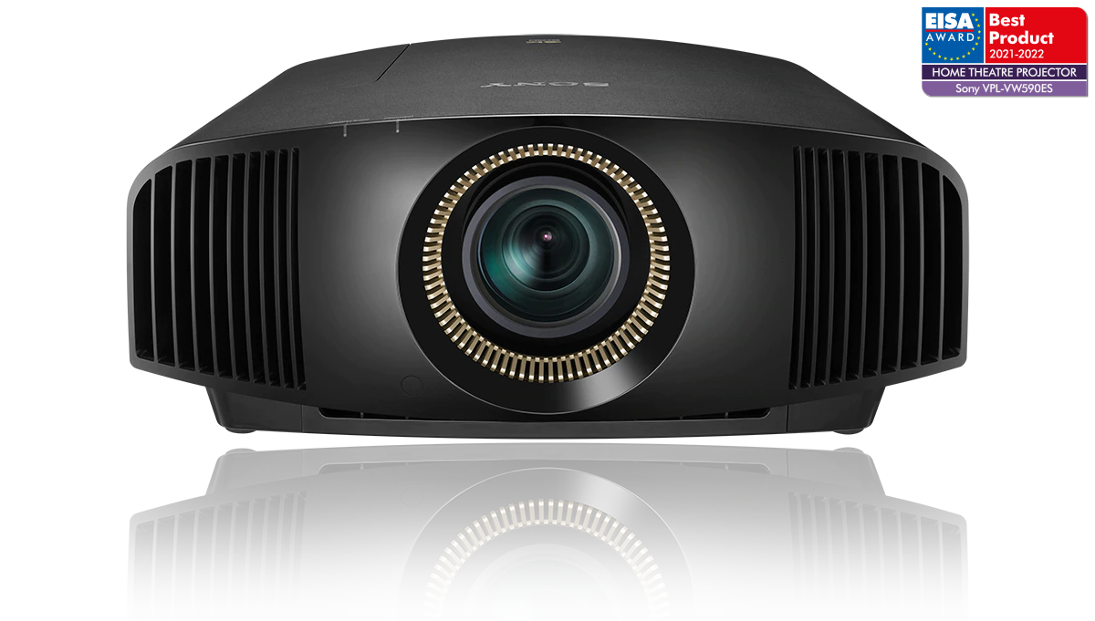 Front-view of Sony's VPL-GTZ380 4K SXRD laser projector with EISA Award logo