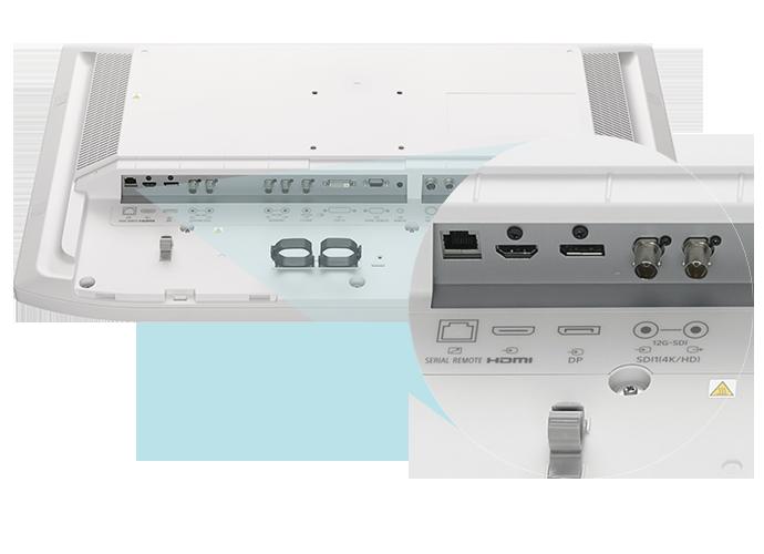 Imagem do painel traseiro do LMD-X3200MD com foco nas portas 12G-SDI, DisplayPort e HDMI