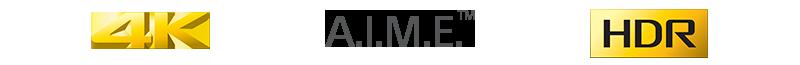 Satz von Logos für die wichtigsten Funktionen 4K, A.I.M.E. und HDR