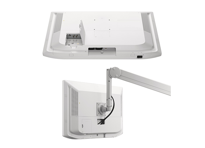 LMD-X3200MD back panel showing regular cabling options and another image of boom-arm mounted cabling option