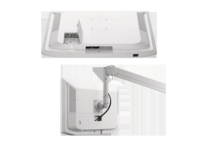 Painel traseiro do LMD-X3200MD mostrando as opções de cabeamento comuns e outra imagem da opção de cabeamento com montagem de braço articulado