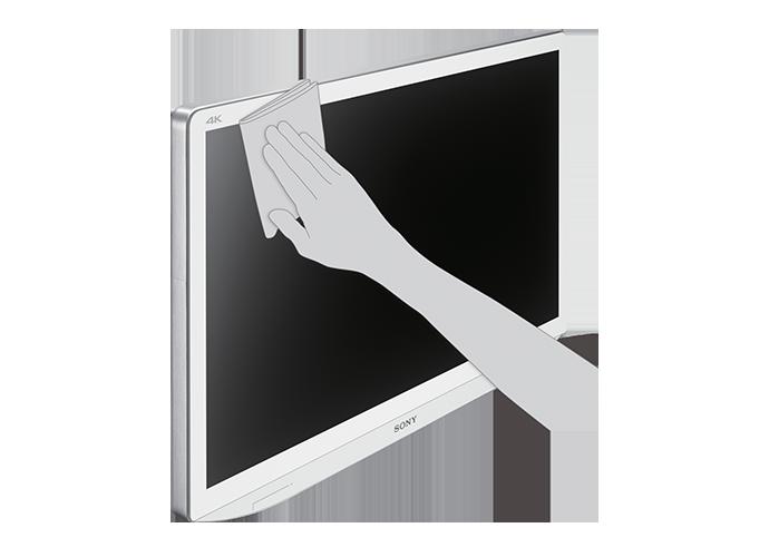 Imagem ilustrativa do LMD-X3200MD mostrando o painel frontal sendo limpo à mão