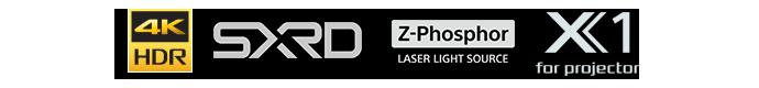 4K HDR, SXRD, Z-Phosphoer laser light source, X1 for Projector logos
