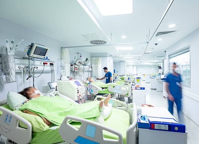 View inside a hospital critical care unit