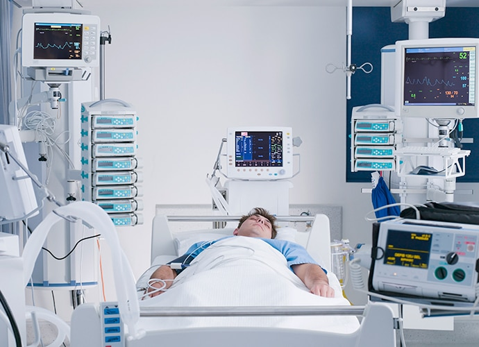 A patient in an ICU ward