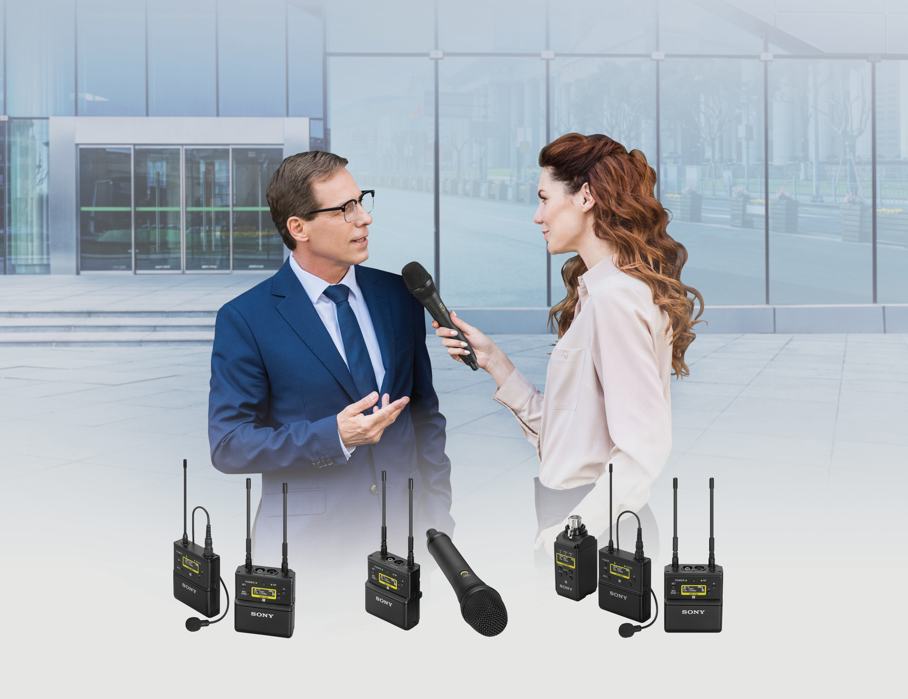 Image showing a reporter is interviewing a business man, product shot of UWP-D series in the bottom