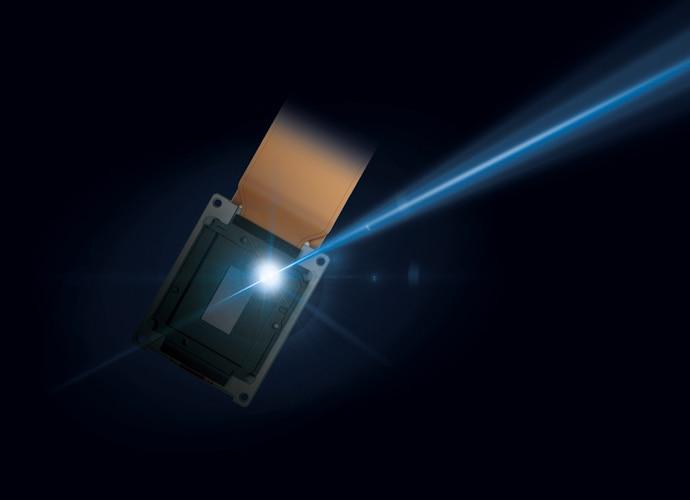 Eine Nahaufnahme der Laserlichtquelle des Projektors