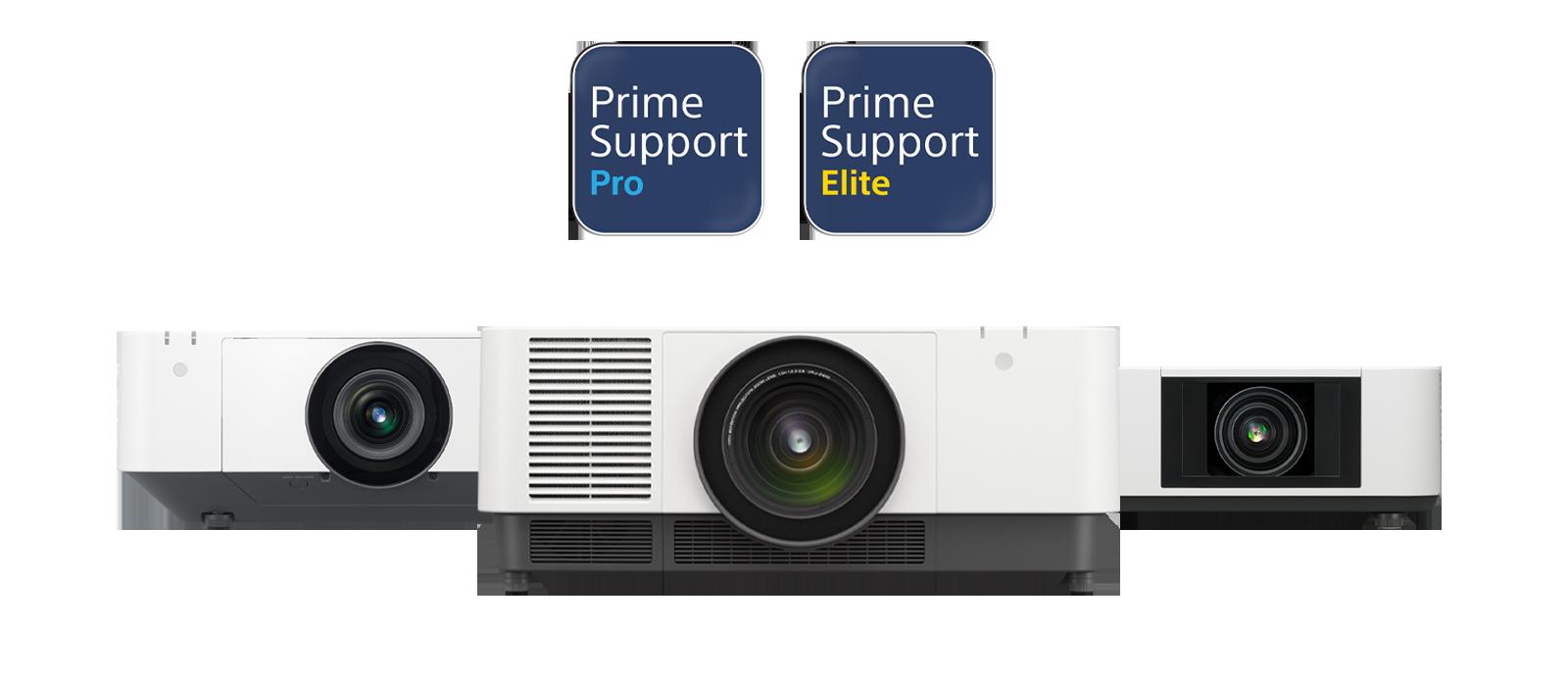 Imagen con un VPL-FHZ131L, un VPL-FHZ66 y un VPL-PHZ12, todos cubiertos por PrimeSupport.