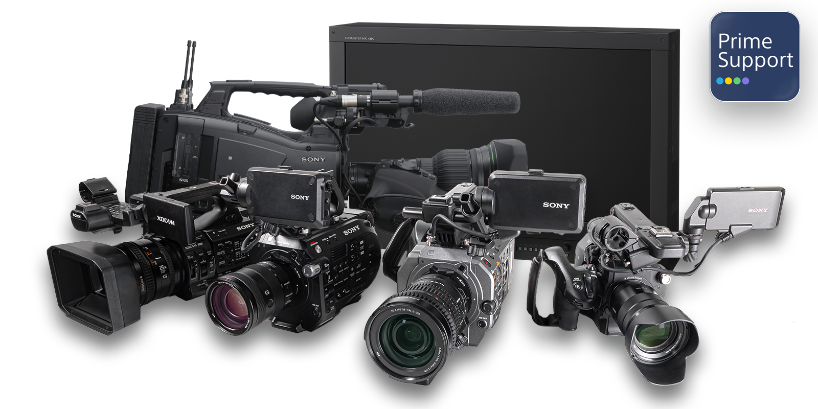 Group shot of Sony Camcorders & Monitor with PrimeSupport logo.