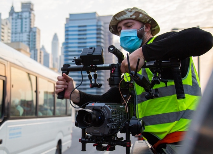FX9 with gimbal in Dubai shoot.