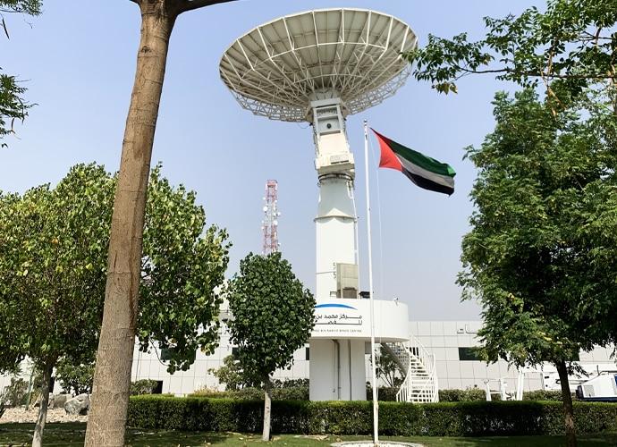 Exterior of UAE Space Center with satellite dish