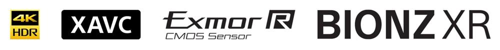 Логотипы 4K HDR, XAVC, Exmor R и BIONZ XR