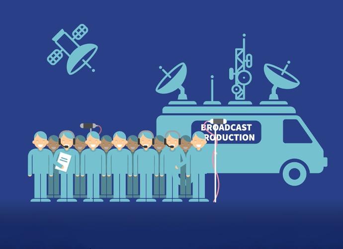 Bir naklen yayın aracı ve uydu önünde sıralanmış duran erkeklerin bilgi görseli