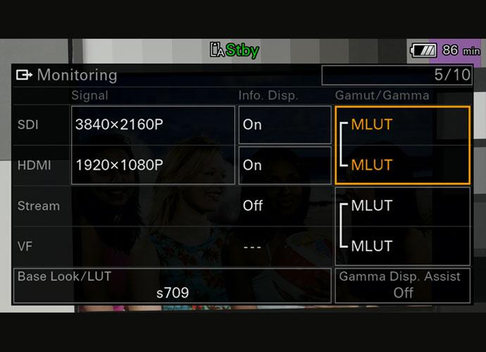 FX6 MLUT in menu system