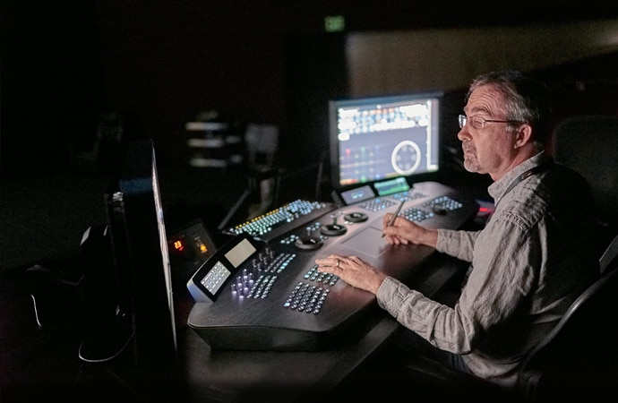 Operator in post-production suite