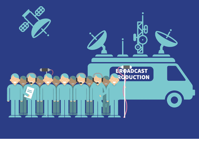 Infographic of a crew infront of an OB Van