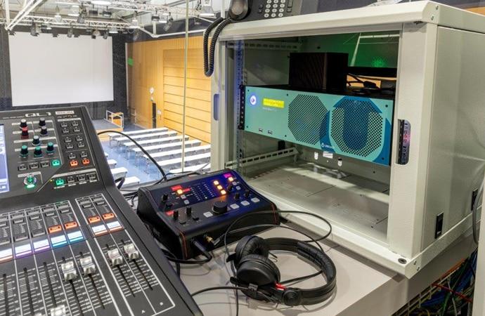 An AV control room at University of Lausanne