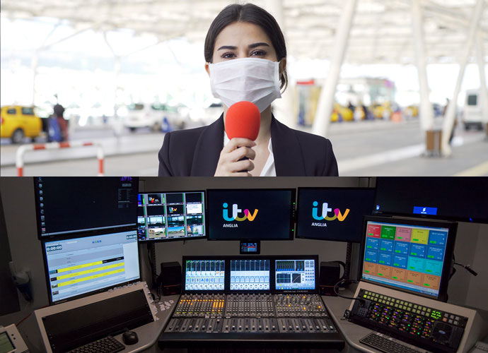 Desk with switchers and monitors. Female reporter with mask speaking into red microphone