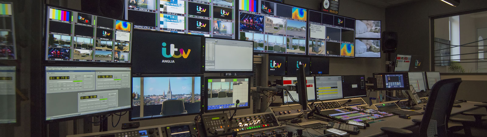 Monitors and switchers television studio at the ITV