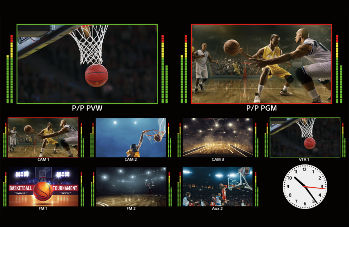 Collaged image of different shots of basketball players playing from different angles and distances