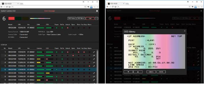 Camera web menu control