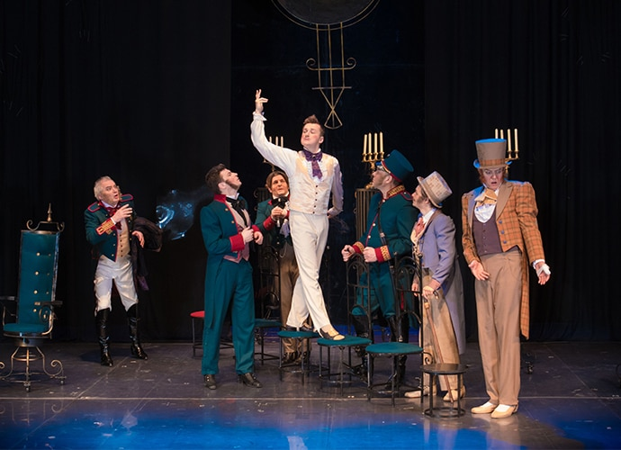 Performers on a theatrical stage