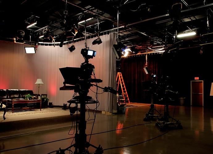 News studio with cameras